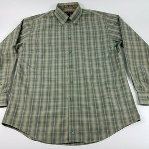 Nordstrom Mens Large Gray Green Stripe Button Down